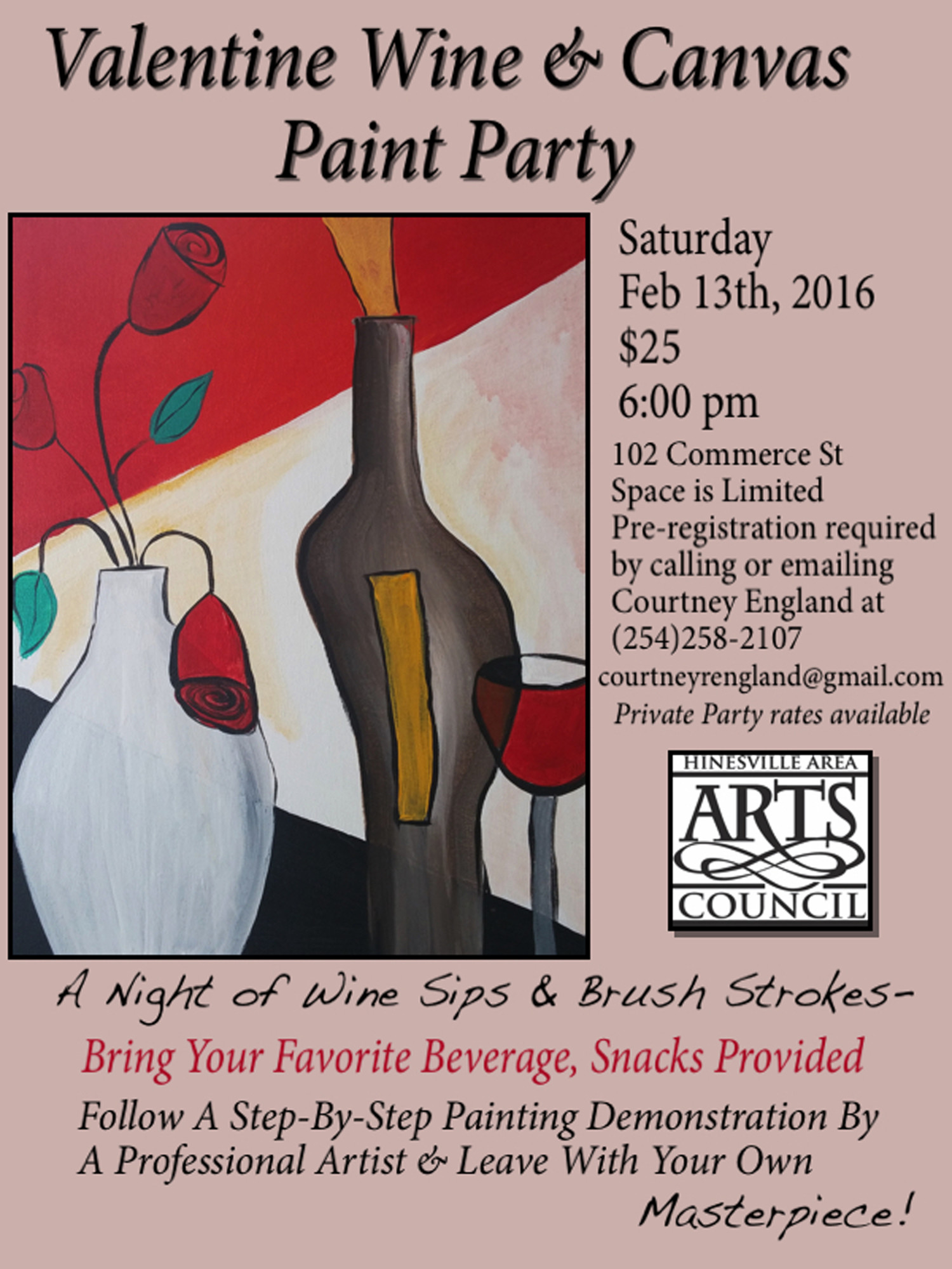 Valentine wine canvas paint party for Wine paint party
